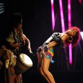Rihanna performs at the 2010 American Music Awards held at Nokia Theatre L.A. Live in Los Angeles on November 21, 2010