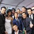 Access Hollywood's Shaun Robinson with upcoming tour buddies New Kids on the Block and Backstreet Boys at the 2010 American Music Awards held at Nokia Theatre L.A. Live in Los Angeles on November 21, 2010