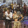 "Jennifer Grey and Derek Hough celebrate as Season 11 champions during ""Dancing with the Stars: The Results"" on November 23, 2010"