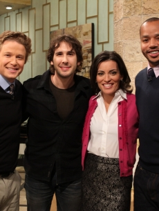 Josh Groban and Donald Faison pose for a picture with Billy Bush and Kit Hoover on Access Hollywood Live on November 12, 2010