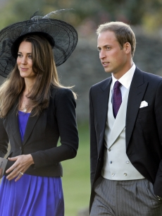 Kate Middleton and Prince William attend Harry Meade & Rosie Bradford's wedding at the Church of St. Peter and St. Paul in Northleach near Cheltenham, England on October 23, 2010
