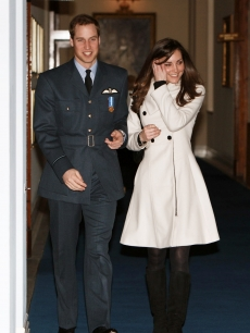 Prince William and Kate Middleton arrive at the Central Flying School at RAF Cranwell where Prince William received his RAF wings in a graduation ceremony, Sleaford in Lincolnshire, England on April 11, 2008