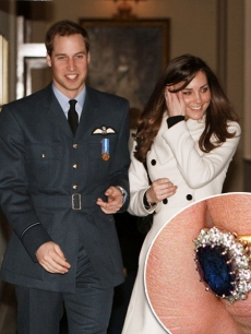 Prince William and Kate Middleton arrive at the Central Flying School at RAF Cranwell where Prince William received his RAF wings in a graduation ceremony, Sleaford in Lincolnshire, England on April 11, 2008 / Princess Diana's engagement ring