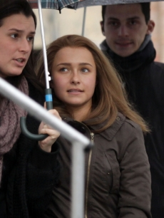 "Hayden Panettiere is pictured on set while filming ""The Amanda Knox Story"" in Rome, Italy, on November 18, 2010"
