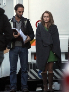 """Hero's"" star Hayden Panettiere is pictured on set while filming ""The Amanda Knox Story"" in Rome, Italy on November 19, 2010"