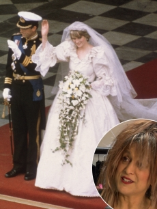 Charles, Prince of Wales, with his wife, Princess Diana (1961 - 1997), on the altar of St Paul's Cathedral during their marriage ceremony, July 29, 1981, Elizabeth Emanuel, designer of Diana's dress (bottom right)