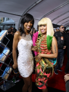 Access Hollywood&#8217;s Shaun Robinson with Nicki Minaj at the 2010 American Music Awards held at Nokia Theatre L.A. Live in Los Angeles on November 21, 2010