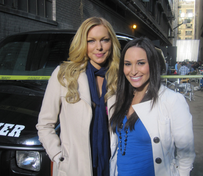 Laura Prepon with Accesshollywood.com's Laura Saltman on the set of ABC's 'Castle'