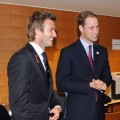 David Beckham and Prince William share a laugh during a reception at the Steigenberger hotel a day before the FIFA 2018 and 2022 World Cup Bid Announcement in in Zurich, Switzerland on December 1, 2010