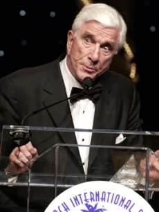 Leslie Nielsen speaks during the 10th Annual Palm Beach International Film Festival in April 2005
