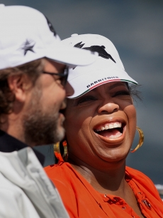 Russell Crowe and Oprah Winfrey are spotted sailing on Sydney Harbour in Sydney, Australia on December 13, 2010