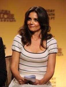 Katie Holmes speaks onstage during the 68th Annual Golden Globe Awards nomination announcement held at the Beverly Hilton Hotel in Beverly Hills, California on December 14, 2010