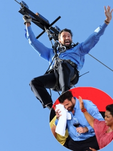 Hugh Jackman makes his aerial entrance on a flying-fox (zipline) from the roof of the Opera House during the filming of &#8220;The Oprah Winfrey Show&#8221; at the Sydney Opera House on December 14, 2010, also seen with Oprah Winfrey following accidentHugh Jackman makes his aerial entrance on a flying-fox (zipline) from the roof of the Opera House during the filming of &#8220;The Oprah Winfrey Show&#8221; at the Sydney Opera House on December 14, 2010, also seen with Oprah Winfrey following accident