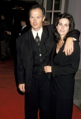 Michael Keaton and then-girlfriend Courteney Cox hit the Ritz Carlton Hotel in Pasadena, Calif., Jan. 9, 1995