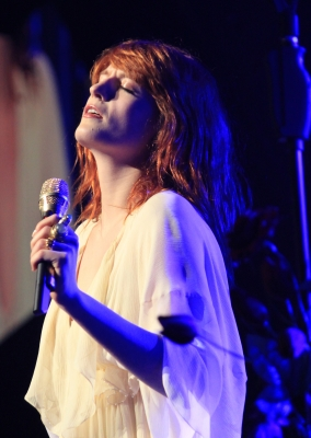 Singer Florence Welch of Florence and The Machine performs at KROQ's Almost Acoustic Christmas at the Gibson Amphitheatre, LA, Dec. 12, 2010