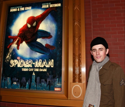 "Reeve Carney leaves the theater after the opening night preview of ""Spider-Man: Turn Off the Dark"" at the Foxwoods Theater in New York City on November 28, 2010"