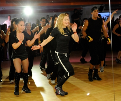 Madonna teaches a class at the opening of Hard Candy Fitness on November 29, 2010 in Mexico City, Mexico.