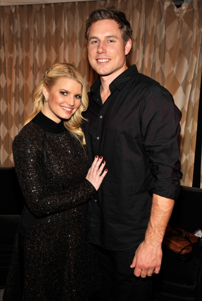 Jessica Simpson and boyfriend Eric Johnson are spotted hugging backstage at the 2010 Rockefeller Center tree lighting at Rockefeller Center in New York City, November 30, 2010