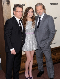Matt Damon, Hailee Steinfeld and Jeff Bridges attend the premiere of 'True Grit' at the Ziegfeld Theatre on December 14, 2010 in New York City.