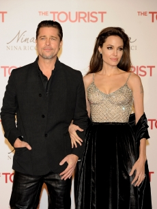 "Brad Pitt and Angelina Jolie attend ""The Tourist"" premiere at Palacio de los Deportes in Madrid, Spain  on December 16, 2010"