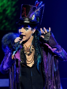 Adam Lambert gets theatrical during his Glam Nation 2010 Tour at Club Nokia in Los Angeles on December 16, 2010 