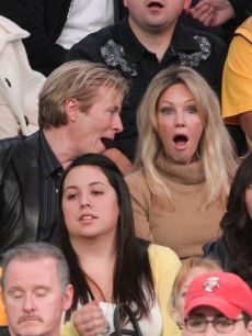 Jack Wagner & Heather Locklear check out the action at the Philadelphia 76ers and the Los Angeles Lakers game at Staples Center on December 31, 2010 in Los Angeles