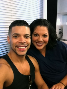 Wilson Cruz &amp; Sara Ramirez on the set of &#8220;Grey&#8217;s Anatomy&#8221;