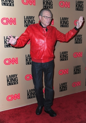 "The man himself — Larry King — rejoices on the red carpet of CNN's ""Larry King Live"" final broadcast party at Spago restaurant on December 16, 2010 in Beverly Hills"