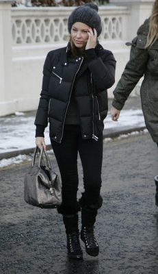 Kylie Minogue spotted leaving her Chelsea home in London on December 17, 2010