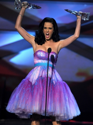 Katy Perry accepts the Favorite Female Artist and Favorite Pop Artist awards onstage during the 2011 People's Choice Awards at Nokia Theatre L.A. Live in Los Angeles on January 5, 2011