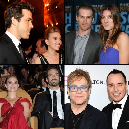 "Ryan Reynolds and Scarlet Johansson split; Michael C. Hall and Jennifer Carpenter split; Natalie Portman announced she was pregnant and engaged to her ""Black Swan"" choreographer, Benjamin Millepied; Elton John and David Furnish adopted a son"