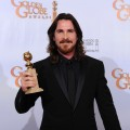 "Christian Bale poses with his award for Best Performance by an Actress In A Supporting Role in a Motion Picture for ""The Fighter"" in the press room at the 68th Annual Golden Globe Awards held at The Beverly Hilton hotel on January 16, 2011 in Beverly Hills"