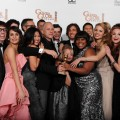 "The cast of ""Glee"" celebrate their Best TV Show, Comedy or Musical, win at the Golden Globes, Beverly Hills, Jan. 17, 2010"