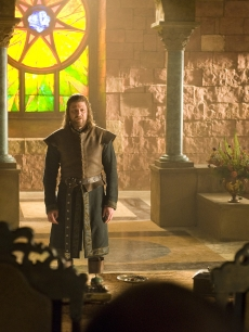 "Sean Bean as Ned Stark and Julian Glover as Grand Maester Pycelle in HBO's ""Game of Thrones,"" 2011"