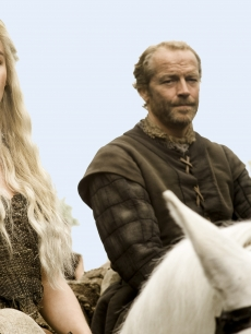 Emilia Clarke as Daenerys Targaryen and Iain Glen as Ser Jorah Mormont in &#8220;Game of Thrones,&#8221; 2011