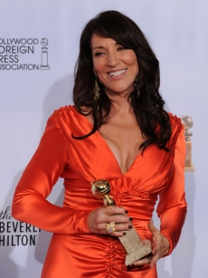 Katey Sagal poses with her award for Best Performance by an Actress In A Television Series (Drama) for &#8216;Sons of Anarchy&#8217; in the press room at the 68th Annual Golden Globe Awards held at The Beverly Hilton hotel in Beverly Hills on January 16, 2011 