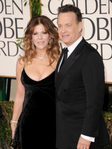Rita Wilson and Tom Hanks arrive at the 68th Annual Golden Globe Awards held at The Beverly Hilton hotel in Beverly Hills on January 16, 2011