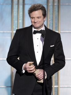 Colin Firth accepts the Best Actor in a Motion Picture Drama Award for 'The King's Speech' onstage during the Golden Globes at the Beverly Hilton International Ballroom in Beverly Hills on January 16, 2011