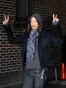 "Steven Tyler visits the ""Late Show With David Letterman"" at the Ed Sullivan Theater in New York City on January 17, 2011"
