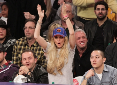Lindsay Lohan attends a game between the New York Knicks and the Los Angeles Lakers at Staples Center in Los Angeles on January 9, 2011