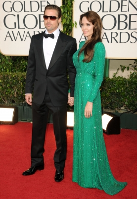 Brad Pitt and Angelina Jolie arrive at the 68th Annual Golden Globe Awards held at The Beverly Hilton hotel, Beverly Hills, January 16, 2011