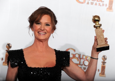 "Melissa Leo poses with her award for Best Performance by an Actress in a Supporting Role in a Motion Picture for ""The Fighter"" in the press room at the 68th Annual Golden Globe Awards held at The Beverly Hilton hotel on January 16, 2011"