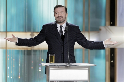 Host Ricky Gervais speaks onstage during the Golden Globes at the Beverly Hilton International Ballroom in Beverly Hills on January 16, 2011
