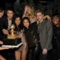 Kevin McHale, Harry Shum Jr., Naya Rivera, Jenna Ushkowitz, Heather Morris, Chord Overstreet and Amber Riley celebrate Naya's birthday at The Bank Nightclub at the Bellagio, Las Vegas, Jan. 22, 2011