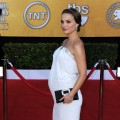 """Black Swan"" star Natalie Portman shows off her growing baby bump at the 17th Annual Screen Actors Guild Awards held at The Shrine Auditorium in LA on January 30, 2011"