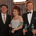"""The King's Speech"" stars Geoffrey Rush, Helena Bonham Carter and Colin Firth pose backstage with their awards at the 17th Annual Screen Actors Guild Awards held at The Shrine Auditorium on January 30, 2011 in Los Angeles"