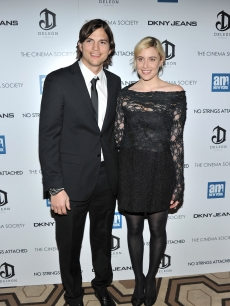 Ashton Kutcher and Greta Gerwig attend the Cinema Society with DKNY Jeans &amp; DeLeon Tequila screening of &#8220;No Strings Attached&#8221; at the Tribeca Grand Hotel, NYC, January 20, 2011 