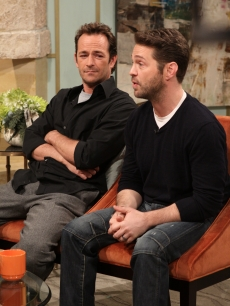 Luke Perry and Jason Priestley stop by Access Hollywood Live on January 21, 2011 