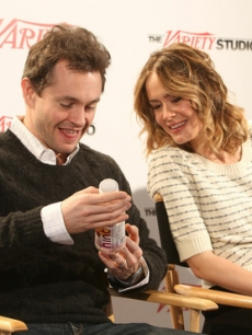 "Hugh Dancy & Sarah Paulson drink a HINT water while promoting their new film, ""Martha Marcy May Marlene"" at the Variety Studio at the 2011 Sundance Film Festival"