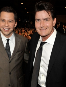 Jon Cryer and Charlie Sheen pose in the audience during the 35th Annual People's Choice Awards held at the Shrine Auditorium on January 7, 2009 in Los Angeles